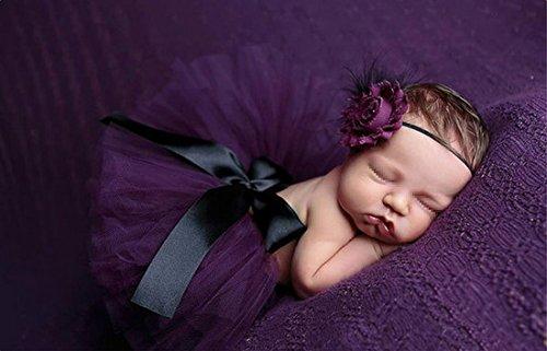 Butterem Neugeborene Baby Säugling Fotografie Stütze Kostüm Outfits Tutu Rock Outfits Blume Stirnband Set, Lila