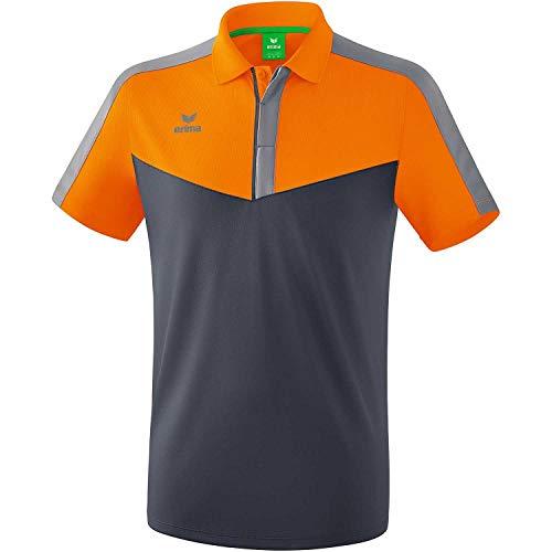 Erima Polo da Uomo Squad Sport, Uomo, Polo, 1112015, Arancione/Grigio Latte/Grigio monumento, XXL