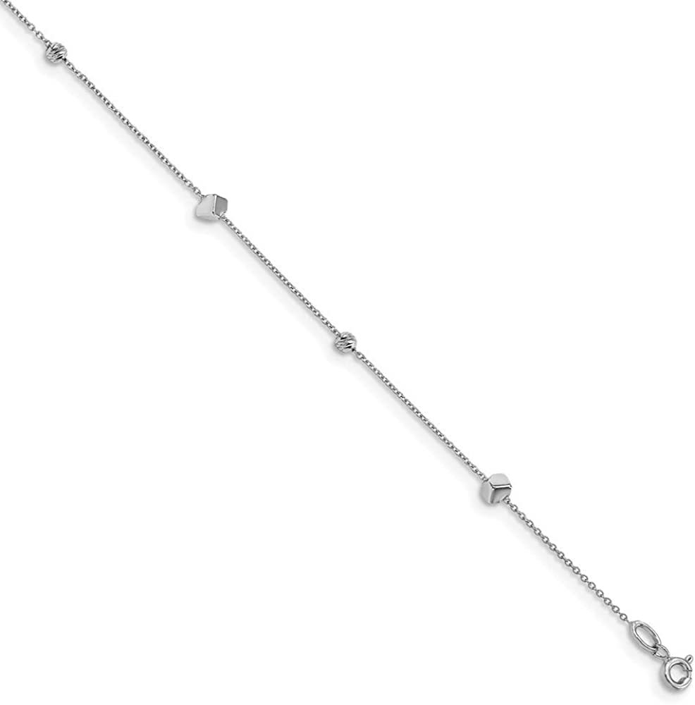 Solid 14K Max 66% 2021 OFF White Gold Diamond-Cut Extension 1 10