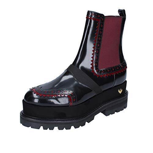 Twin-Set Stiefeletten Damen glänzendem Leder schwarz 37 EU