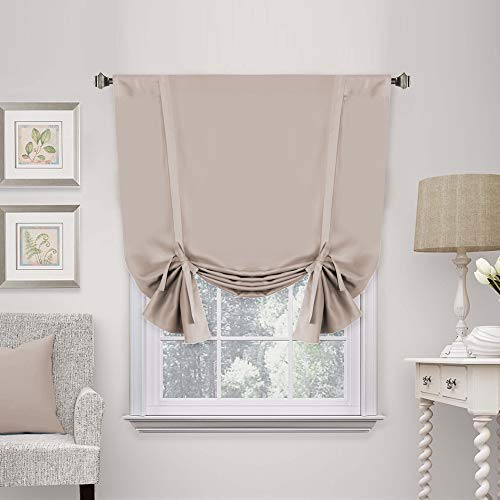 """H.VERSAILTEX Thermal Insulated Adjustable Tie Up Shade/Blackout Curtain with Rod Pocket Top - 42"""" Wide by 63"""" Long - Solid in Natural - 1 Panel"""