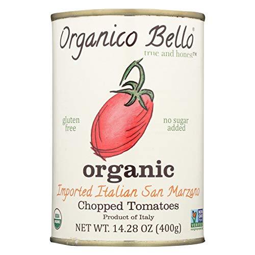 ORGANICO BELLO, 100% Organic San Marzano Tomatoes,Chopped, Pack of 12, Size 14.28 OZ - No Artificial Ingredients Gluten Free GMO Free 100% Organic