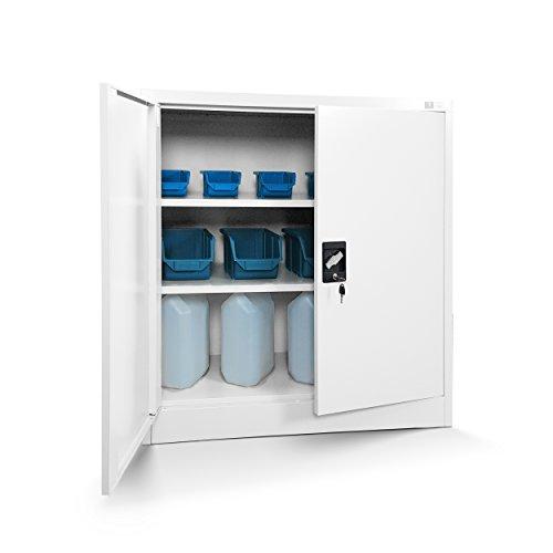Jan Nowak Kleiner Aktenschrank C001B Büroschrank mit Flügeltüren Metallschrank Lagerschrank Pulverbeschichtet Stahlblech Abschließbar 92,5 cm x 90 cm x 40 cm (H x B x T) (weiß/weiß)
