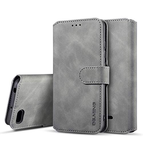 xinyunew Hülle Kompatibel mit Xiaomi Redmi 6A Hülle, 360 Grad Handyhülle + Panzerglas Premium Handy Schutzhülle Leder Wallet Tasche Flip Brieftasche Etui Schale (Grau)
