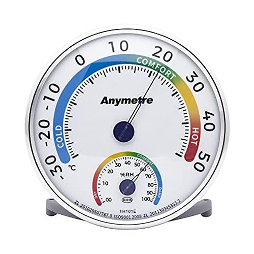 Higrometro Analogico Hidrometro Termometro Ambiente Interior Termometro Ambiental Medidor Humedad Casa,Sin Batería (13cm, Redondo)
