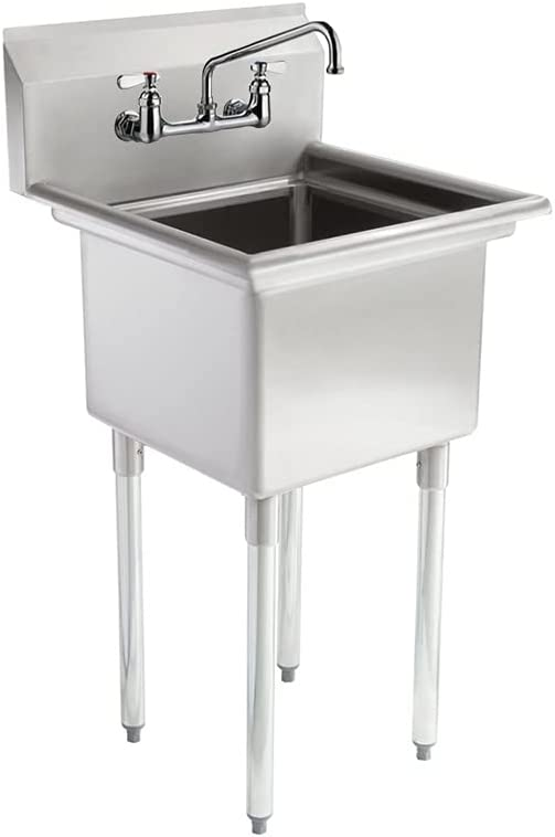 AmGood Commercial Stainless Steel Sink - 1 Compartment Restaurant Kitchen Prep & Utility Sink with 10