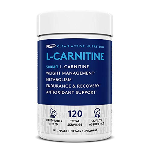 RSP L-Carnitine: Non-Stimulant L Carnitine, Weight Loss Supplement and Metabolism for Men and Women, Amino Acid Workout Diet Pills, 500 milligrams, 120 Capsules *Packaging May Vary*