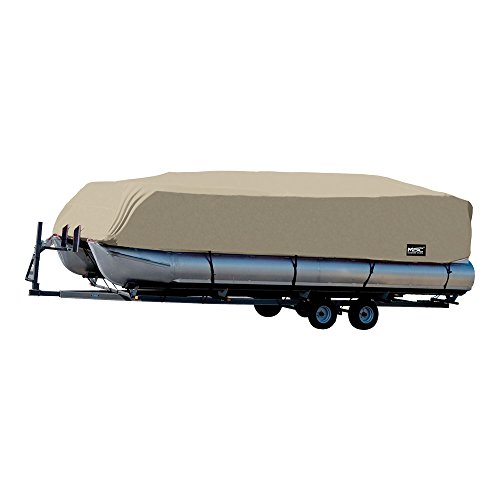 MSC Trailerable Pontoon Boat Cover 300D UV,Mainre Grade, Color Grey,Pacific Blue Available (Beige, Model C - Fits: 25' to 28'L Beam Width to 104')