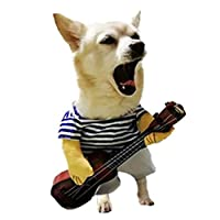 ペット服 L:グレート2 PCS薄片おかしい猫ギタリストの中へペット服、サイズになって