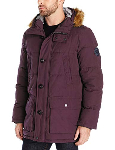 Tommy Hilfiger Men's Arctic Cloth Full Length Quilted Snorkel Jacket (Standard and Big & Tall), Burgundy, Medium