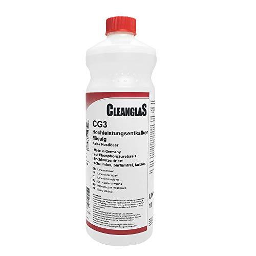 CleanglaS CG3 Kalkentferner Dusche Made in Germany | Extra starker Entkalker, Toilettenreiniger und Urinsteinentferner | Phosphorsäure-Basis | 1L Konzentrat je nach Verschmutzung mischbar bis zu 100L