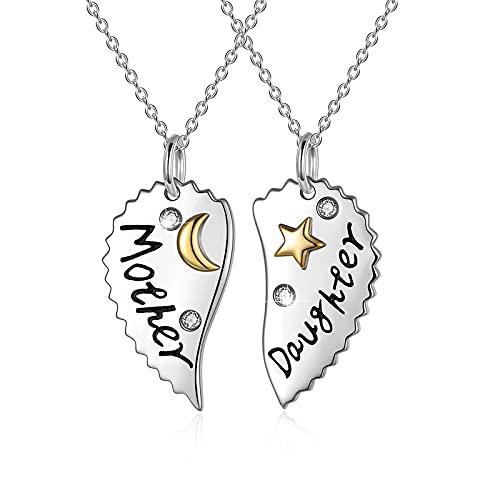 WINNICACA Collar para madre e hija de Mama 2PS S925 plata de ley con corazón de bebé niña luna Star collar joyas para mujeres mamá regalos