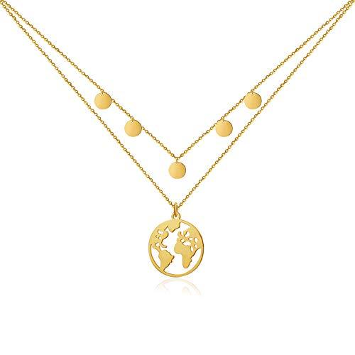 GD GOOD.designs EST. 2015  Collar de Mujer con Colgante del Globo (40 + 5cm) Cadena con Colgante de Mapa del Mundo (Multicapa - Oro)
