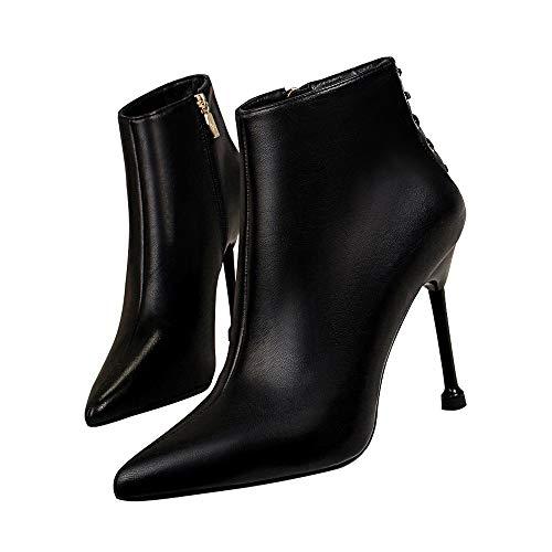 Moquite Damen Elegante Stiefelette,Klassische Moderne Frauen Stiefel, Boot, Halbstiefel, Damenstiefelette, Bootie, Hoch,High Heel,Party,Stiletto 10.5cm