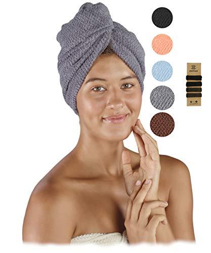 pamuq® Turbante de secado rápido, 100 % algodón, juego de 2 unidades, con 2 botones, incluye 4 gomas para el pelo, toalla de secado rápido, toalla turbante, toalla de secado rápido