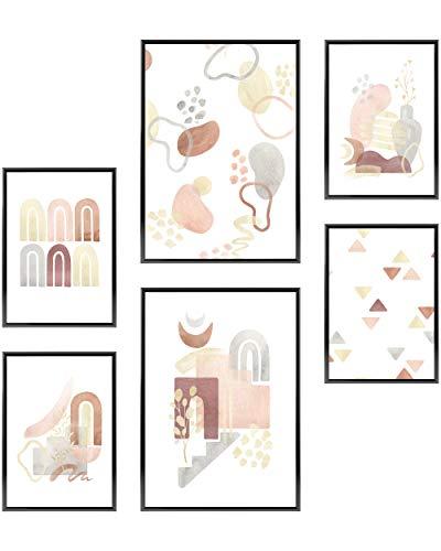 Heimlich Cuadros Decorativos - Decoración Colgante para Paredes de Sala, Dormitorios y Cocina - Arte Mural - 2 x A3 (30x42cm) et 4 x A4 (21x30cm) | Sin Marcos »Modern Abstract Watercolor II «