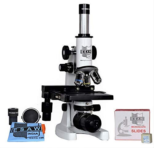 ESAW MM-02 2500x Student Compound Medical Microscope for Kids with 50 Prepared Slides and LED Light, 50 Blank Slides and Cover Slips