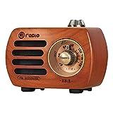Radio de Madera PRUNUS R-818, Radio Portatil Pequeña con Altavoz Bluetooth,Vintage Radio FM con Estilo Vintage, Mini Radio Portatil, Altavoz Sonido de Graves, Soporta la Entrada AUX.