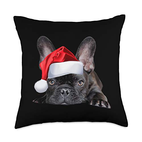 Cute French Bulldog Santa Hat Christmas Cute French Bulldog Santa Hat Frenchie Image Christmas Gift Throw Pillow, 18x18, Multicolor