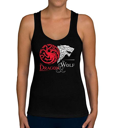 shirtdepartment - Damen Tank Top - GoT - Dragon & Wolf schwarz-Silber M