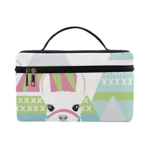 Happy Birthday Card With Cute Animal Best Wish Large Capacity Size Lady Cosmetic Bag Makeup Organizer Lunch Box Train Toiletry Case For Girls Teen Women Travel With Clear Zipper And Single Layer
