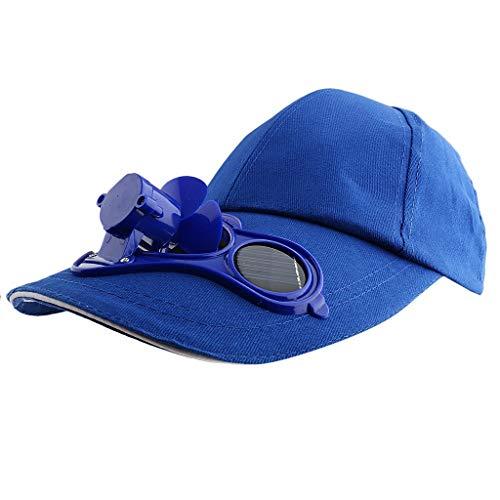Männer Herren Outdoor Sport Fischen Golf Cap Bequeme Größen Mit Solar Ventilator Kappe Mit Fter Sonnenhut Schirmmütze Kleidung (Color : Blau, Size : One Size)
