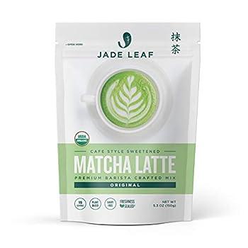 Jade Leaf Organic Matcha Latte Mix - Cafe Style Sweetened Blend - Sweet Matcha Green Tea Powder  5.3 Ounce