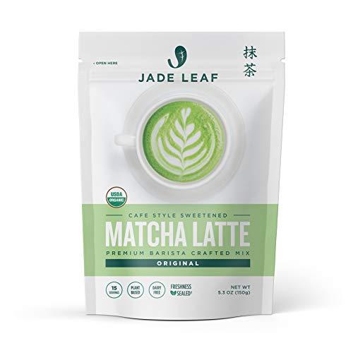 Jade Leaf Organic Matcha Latte Mix - Cafe Style Sweetened Blend - Sweet Matcha Green Tea Powder (5.3 Ounce)