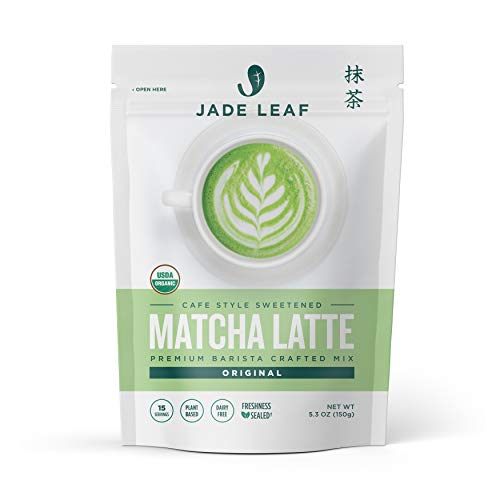 Jade Leaf Organic Matcha Latte Mix - Cafe Style Sweetened Blend - Sweet Matcha Green Tea Powder [5.3oz Pouch]