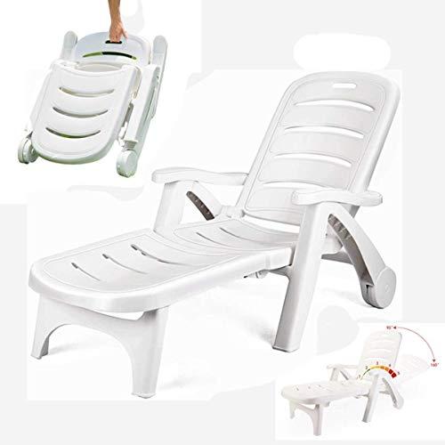ポリプロピレンプラスチック白いサンラウンジャー-あなたの庭/屋外レジャーの折りたたみ式の軽いスイミングプールラウンジャー/海辺のビーチチェアホテルスイミングプール、サンラウンジャーのためのスタイリッシュで耐久性のある家具