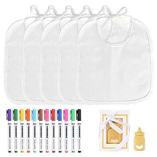 Faburo 12 Stück Baby Lätzchen zum Bemalen Lätzchen aus Baumwolle Doppelseitig mit 12 bunten Textilstiften 1pcs Flaschenöffner für Babyshower Party