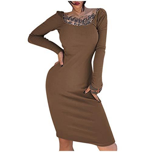 Briskorry Damen Kleid Sexy Strass Clubwear Langarm Minikleid Bleistiftkleid Elegant Etuikleid Bodycon Kleid Strecken Cocktailkleider Partykleid der Karneval Kleid