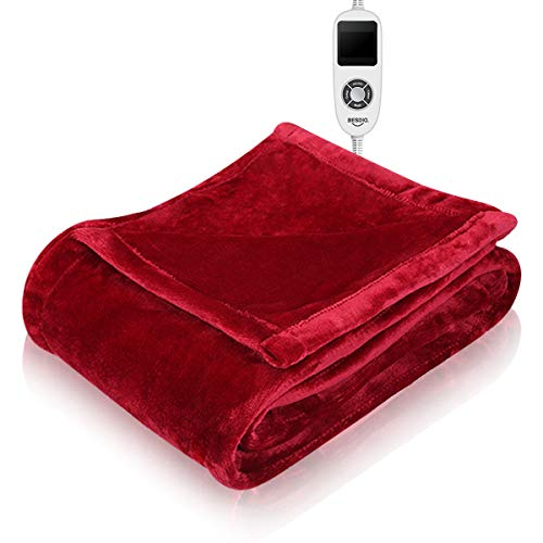 "BesDio Electric Heated Blanket Throw, ETL Certified Fast-Heating for Full Body, 10 Temperature Settings with Auto Off, 200GSM Soft Flannel, Machine Washable, 50"" x 60"""