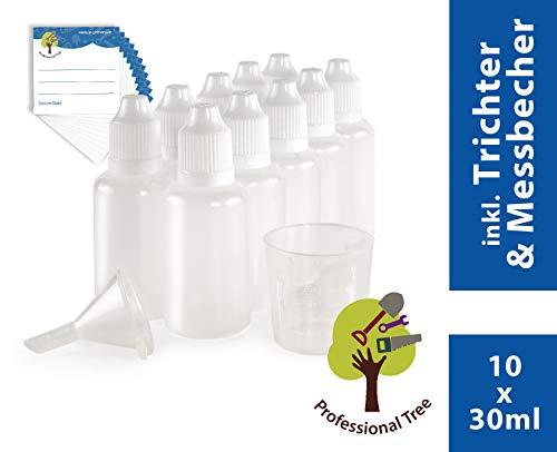 ProfessionalTree 10 x 30 ml Tropfflaschen mit Trichter, Messbecher und 10 Etiketten - Leere Quetschflasche zur Dosierung und Aufbewahrung von E-Liquid - Tropfflasche zum Mischen von Nikotin Shot