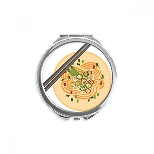 DIYthinker Chinesisches Gericht Nudel Delicious Food Muster Spiegel Runder bewegliche Handtasche Make-up 2.6 Zoll x 2.4 Zoll x 0.3 Zoll Mehrfarbig