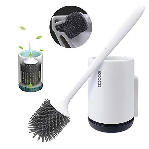 Elezenioc WC Bürste mit Halter Silikon Toilettenbürste Set Langer Stiel klobürste und schnell trocknendem Haltersatz für Badezimmer oder Gäste-WC
