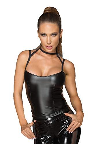 Schwarzes Wetlook Damen Top mit Choker erotisches Gogon Träger Hemdchen mit Halsband matt L