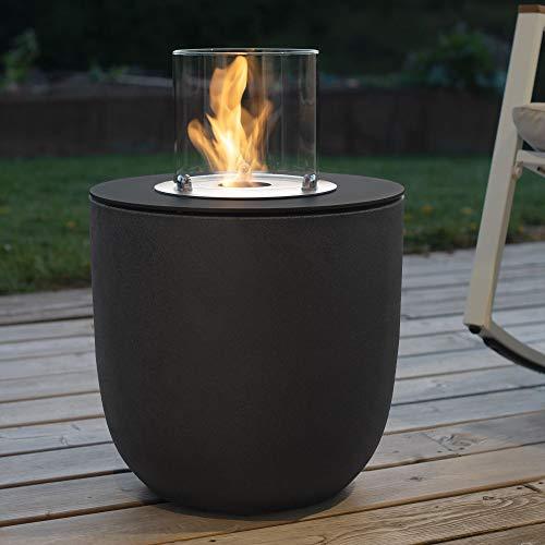 muenkel design Vigo – Bio-Ethanol Feuerstelle Gartenfackel Terrassenfeuer mit Round Burner 250 Brennkammer – Korpus Asphalt-schwarz