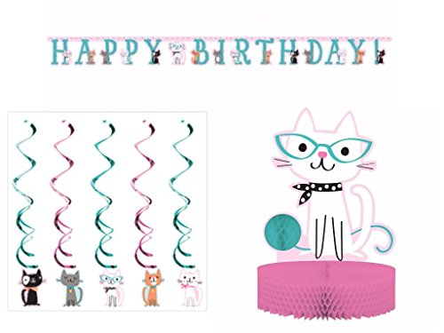 Purr-FECT Cat Party Supplies Decoration Pack Including Centerpiece, Banner & Dizzy Danglers