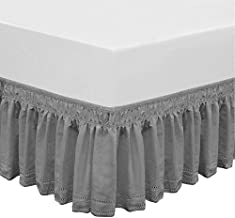 QSY Home Wrap Around Elastic Eyelet Bed Skirts 14 1/2 Inches Drop Dust Ruffle Three Fabric Sides Easy On/Easy Off Adjustable Polyester Cotton(Grey Queen/King)