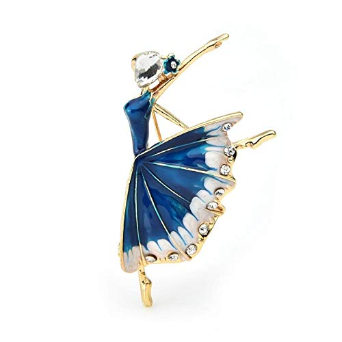 U/N Vestido esmaltado Azul Bailarina Broches para niña Mujeres Aleación de Diamantes de imitación Bodas Broche para Banquetes Regalos