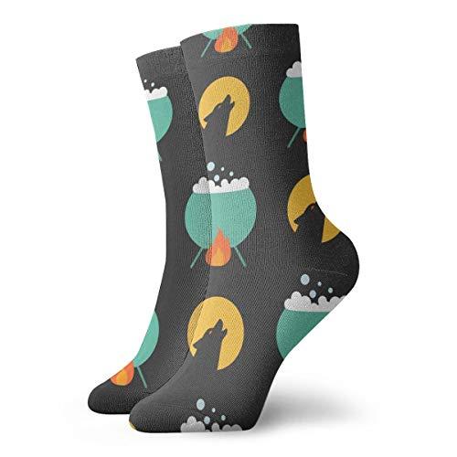 Pengyong - Calcetines para Hombre y Mujer, diseño de Lobo y Luna y caldero