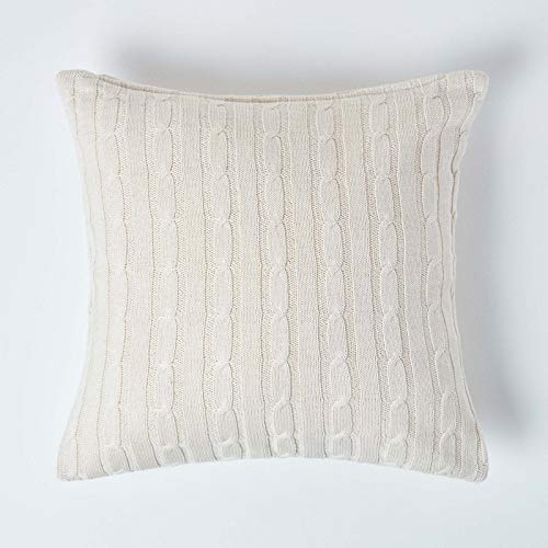 HOMESCAPES - Cable Knit - Cushion Cover Natural - 100% Cotton - 18 x 18 Inches - Washable
