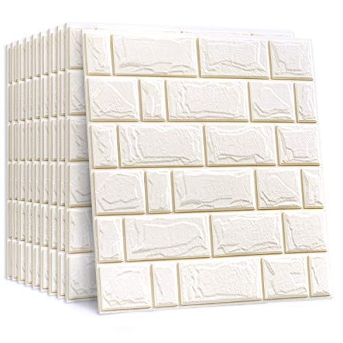 SHINGONE 3D Brick Wallpaper, Self Adhesive PE Foam DIY Wall Stickers, Peel and Stick 3D Art Wall Panels for Bedroom Kitchen Living Room Bathroom Decor, White(10 Pcs)