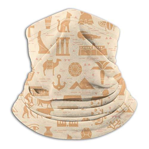 senob Helles nahtloses Muster von Symbolen, Wahrzeichen und Zeichen von Ägypten von den Ikonen in einem flachen Stil. Halswärmer Winterschal