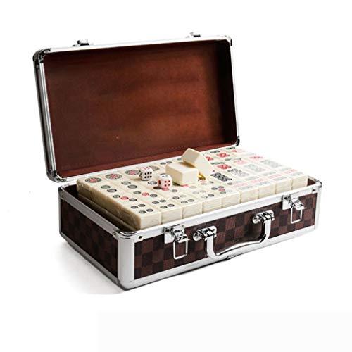 DUOER home-Mahjongg 144 Fliesen Portable Chinese Mahjong Rare Game Set Retro Mah-Jong + Custom Fit Box Unterhaltung Spaß Familie Brettspiele (Größe : 42#)