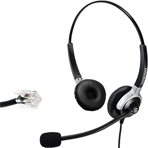 GEQUDIO Headset geeignet für Yealink ®(alle Modelle), Snom®(alle Modelle) und Grandstream ® Telefone mit RJ-Anschluss, mit Kabel, 80g leicht