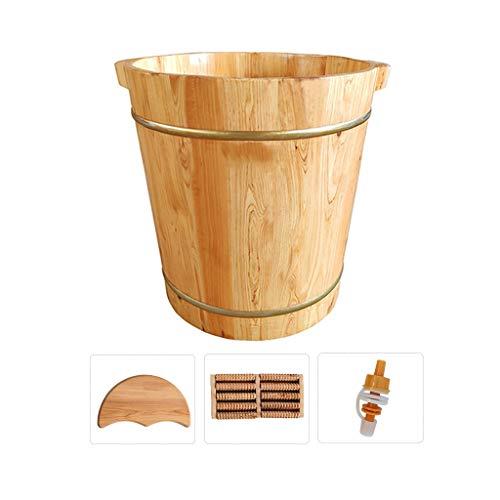 CYLQ Voetbadkuip voor het dranken van de voeten, houten voetenbad emmer met deksel, masseren pedicure-spa-zwembad voor het inweken van vermoeide en wonden voeten groot 40 cm