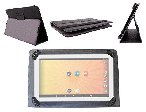 Schutzhülle Schwarz in Lederoptik für QILIVE Tablet Touchscreen 10.1Zoll Kids für Kinder–integriertem Ständer