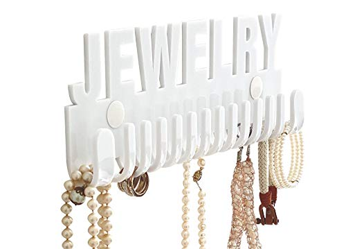 Necklace holder wall mount I acrylic necklaces bracelets holder white,gold and pink I Jewelry hooks hanger Galeara Design with word jewelry or joyas in glossy finish
